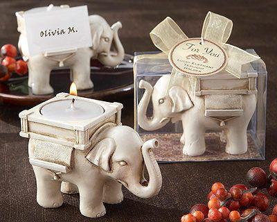 "Lucky Elephant"" Antique Ivory-Finish Tea Light Holder"