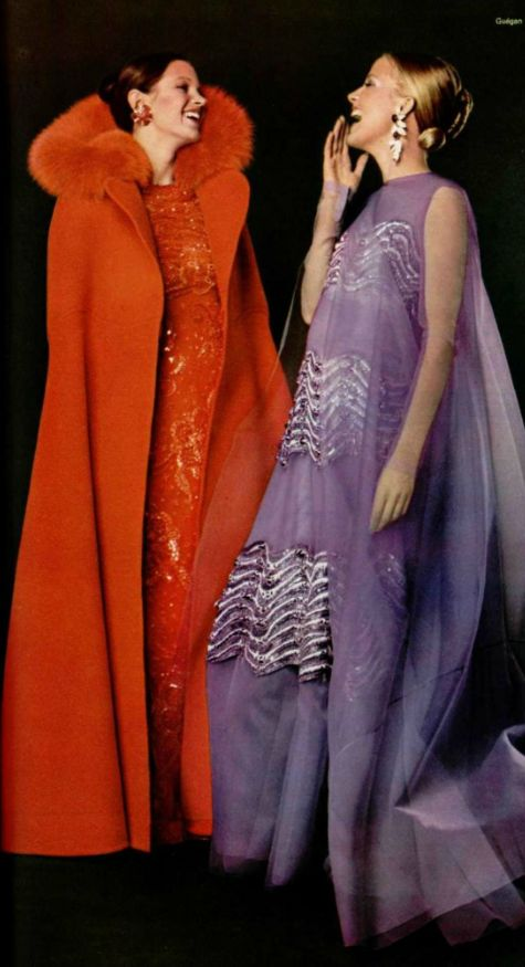 1971 Christian Dior 70s evening wear gown dress silver purple red long coat formal vintage fashion style color photo print ad designer couture models