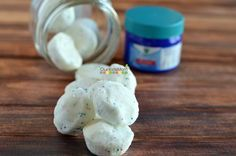 Homemade Vicks Shower Disks. Pop one in your shower for a slow menthol release that helps stuffy noses and heads.
