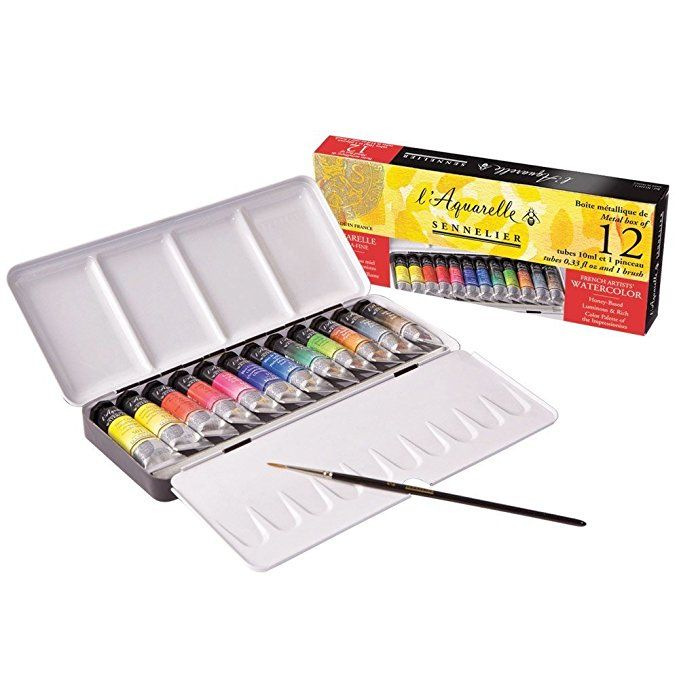 Sennelier Watercolor Metal Box 12 Tube Set Watercolor