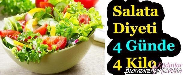 4 Günlük Yeşil Salata Diyeti İle 4 Kilo - http://www.bizkadinlaricin.com/4-gunluk-yesil-salata-diyeti-ile-4-kilo.html  Salata yemeyi seven biriyseniz, 4 günlük yeşil salata diyeti ile 4 kilo verebilirsiniz. Diyet boyunca günde 2-2,5 litre su içmeli, en az 1 saat yürüyüş yapmalısınız. Akşam 8'den sonra yalnızca light yoğurt ve şekersiz çay içmenize izin var. Doktorunuza danışmadan asla bu diyeti uygulamayın. 1. Gün 200 gram yağsız,tuzsuz pil