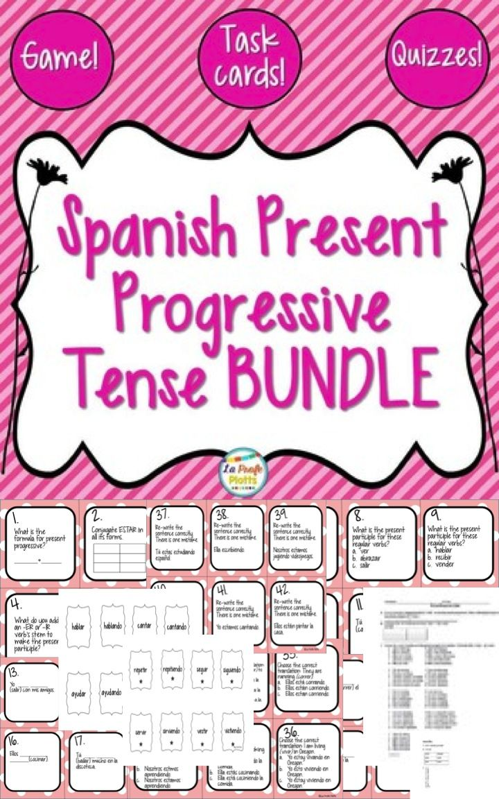 This Spanish present progressive tense bundle includes all four of my present progressive tense resources at a savings of more than 25% vs. buying them individually! That's two 48-card task card sets, the super fun ¡Pesca! game, and the easy-to-grade quizzes and answer keys. Everything is ready to print, cut, and use!