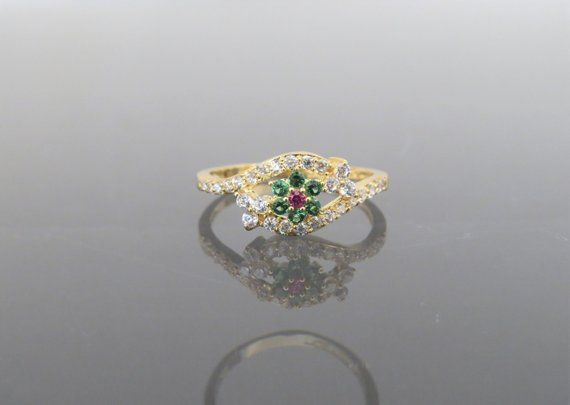 Vintage 18K Solid Yellow Gold Natural Ruby Carved Rose Flower Ring Size 7.75