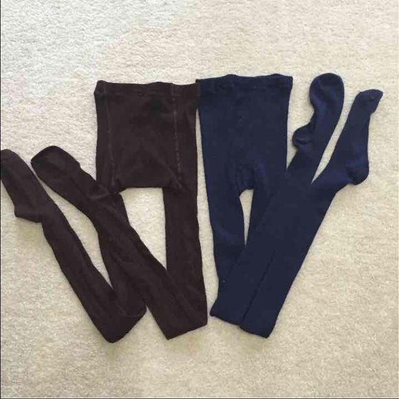 Brown and navy tights. Sz large slightly used brown and navy tights in the size large. The brown tights are actually a size medium large but fits large the best and the blue tights are the size extra-large, but they fit large best.  Not willing to separate prefer to sell them as a bundle Pants Leggings