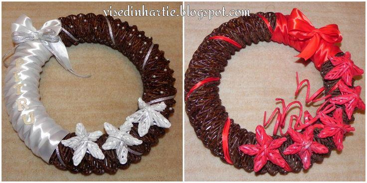 Door wreath made from paper