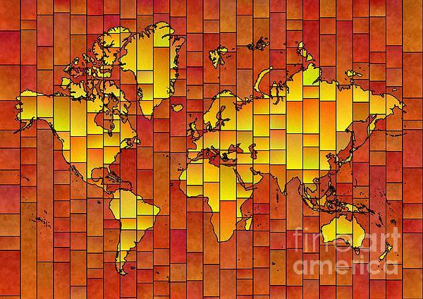 World Map Glasa in Orange by elevencorners. World map art wall print decor #elevencorners #mapglasa