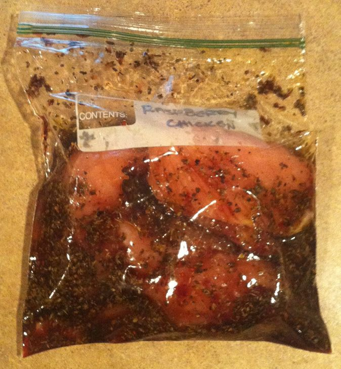 Raspberry Chicken Marinade Recipe Main Dishes with chicken breasts, raspberry preserves, balsamic vinegar, olive oil, oregano, chopped garlic, cracked black pepper, light brown sugar