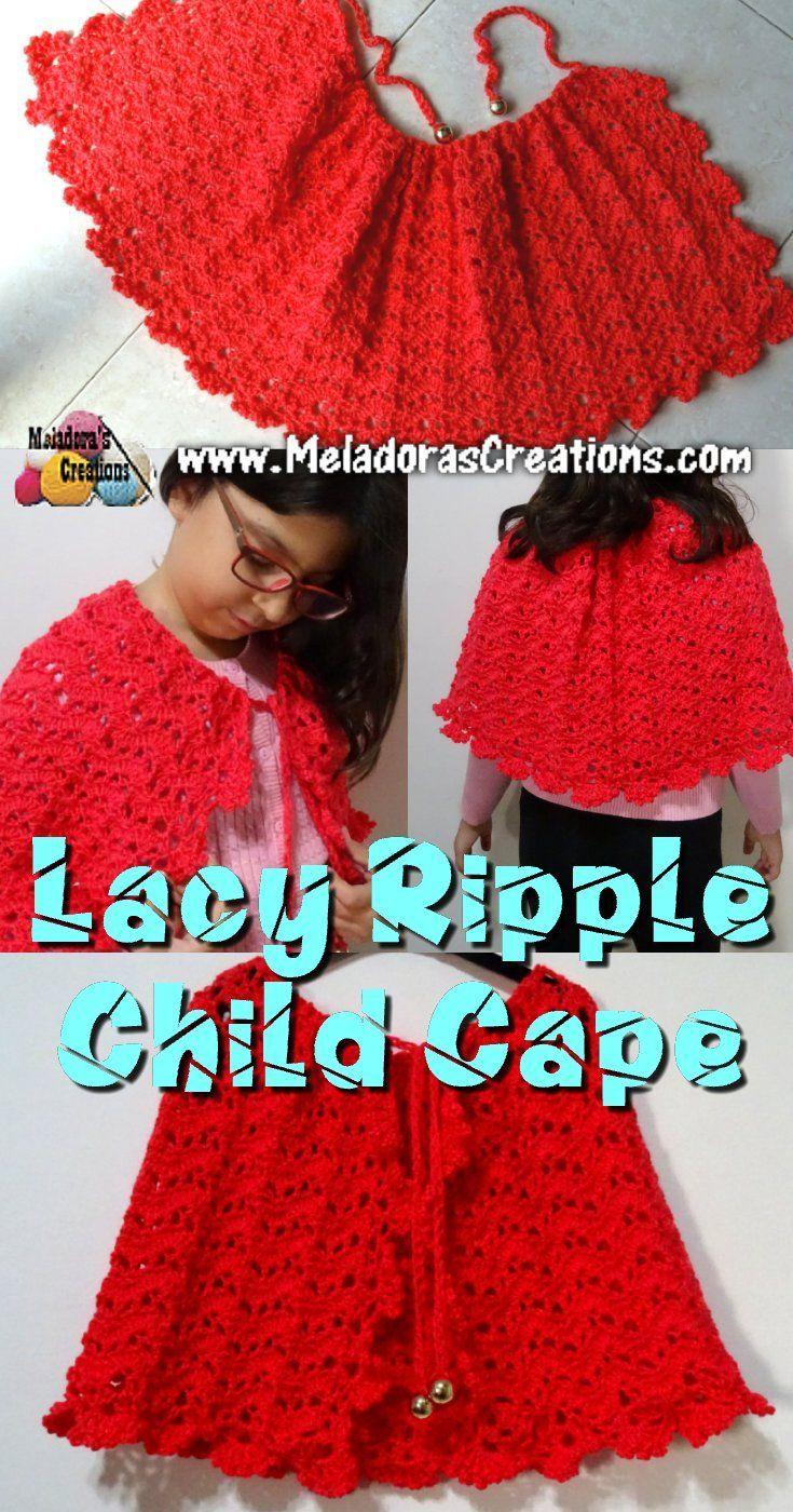 Lacy Ripple Child Cape Free Crochet Pattern Crochet Pinterest