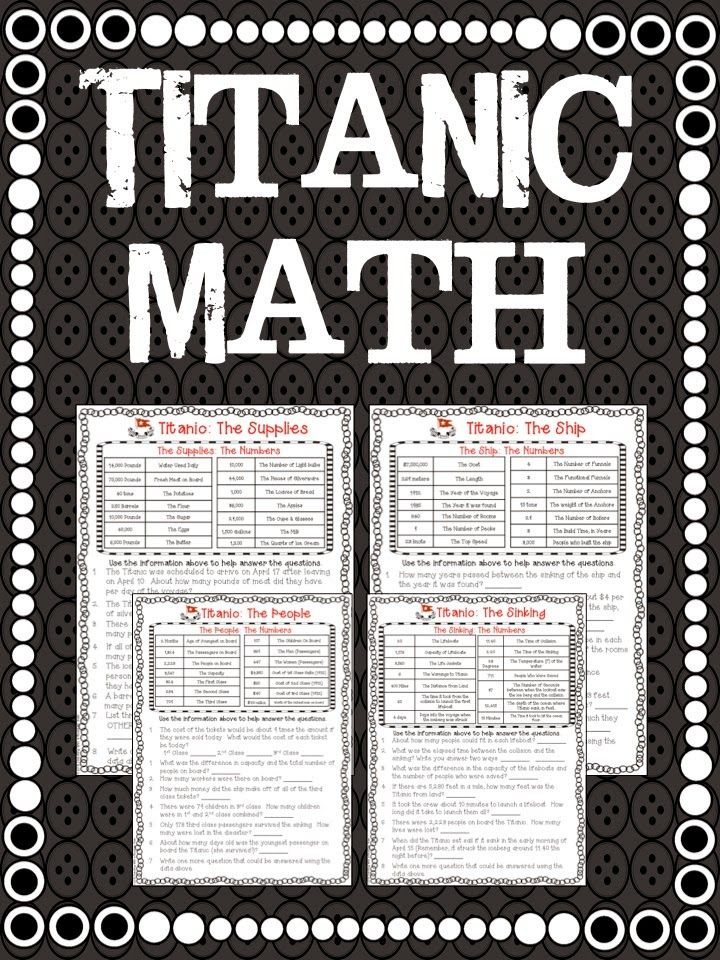FREE Titanic Math! Teach you students about the Titanic by the numbers!