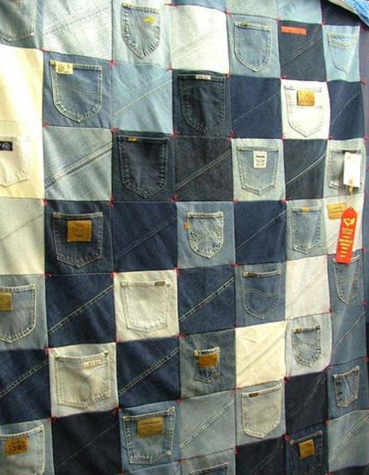 Elle découpe les vieux jeans de son mari en gros carrés et elle conçoit un magnifique cadeau! - Trucs et Bricolages