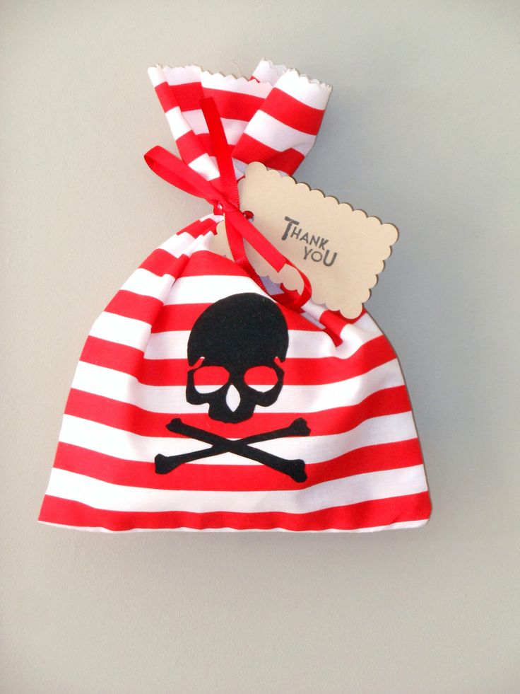 Pirate fabric party bag - Loot bag by LittlePaxtons on Etsy https://www.etsy.com/listing/233239465/pirate-fabric-party-bag-loot-bag