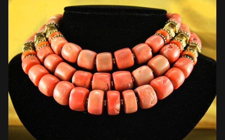 Jewelry - Three Strand Coral Necklace, #OCR-N9 - Manitou Galleries - Santa Fe Fine Art Gallery beads