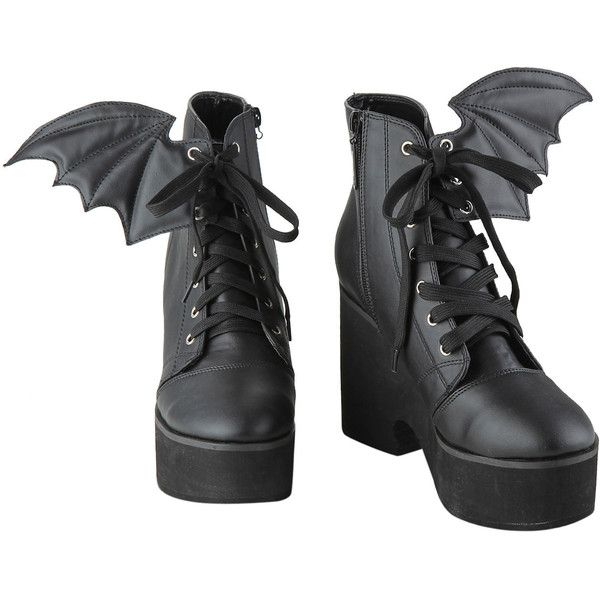 Ironfist Iron Fist Bat Wing Boots (2,810 DOP) ❤ liked on Polyvore featuring shoes, boots, heels, lace up shoes, heeled boots, iron fist boots, front lace up boots and laced up boots