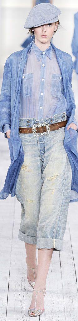 Sparkly shoes, sparkly buckle, faded denim & blues ~ Cortigiana re.  Ralph Lauren Spring 2010 RTW