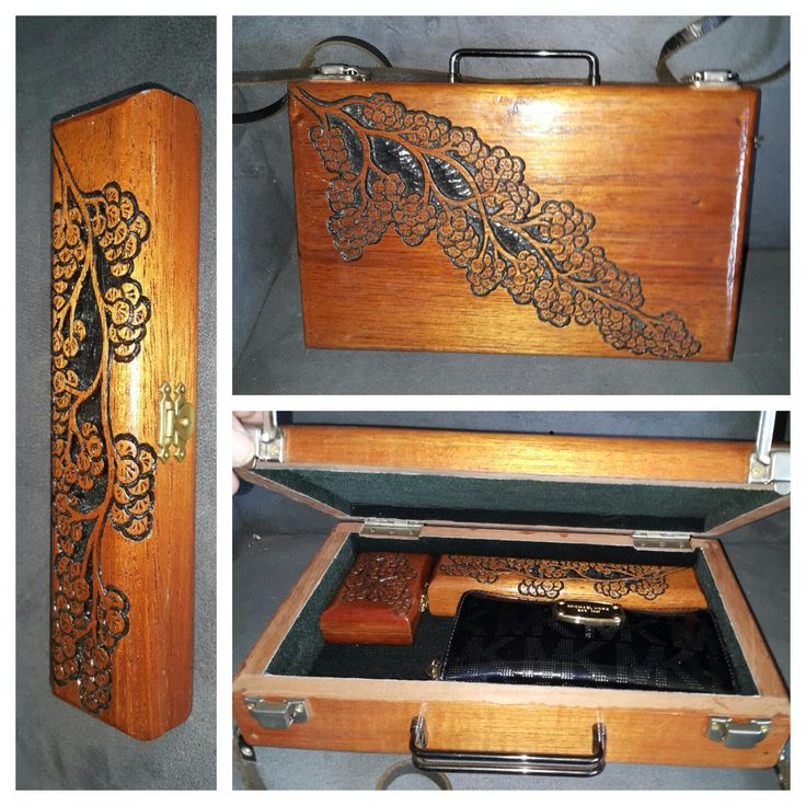 houten tas en pennendoos