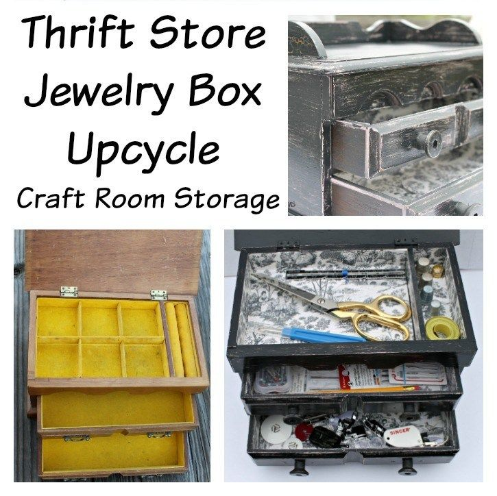 Thrift Store Jewelry Box Upcycle. Craft Room Storage project 725×724.intellige….. – DIY