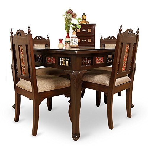 ExclusiveLane Teak Wood 4 Seater Dining Table & Chair With Warli & Dhokra Work - Dinning Table Set Furniture For Home with Free Vase