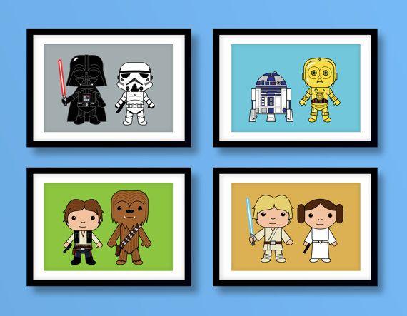 Star Wars inspired wall art, kids wall art, Star Wars, Darth Vader, Stormtrooper, Luke Skywalker, Han Solo, Chewbacca, Star Wars nursery