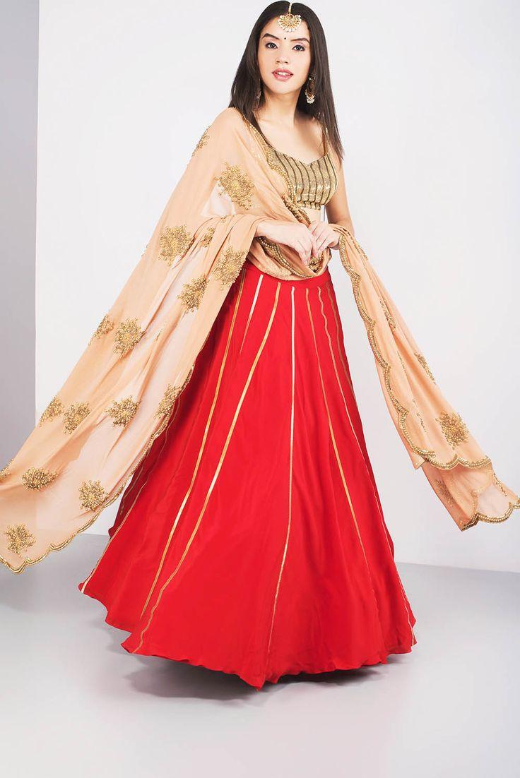 OHAILA KHAN red and beige colour lehenga #Flyrobe #Bride #Wedding #Lehenga #IndianWedding #designer #designerlehenga #lehengacholi