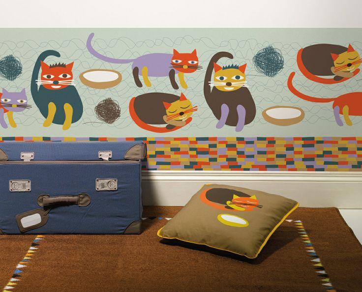 Miau blue / non-woven border / lavmi
