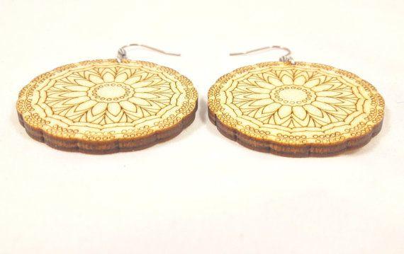 Wooden mandala earring jewelry laser cut light by wolflaserart