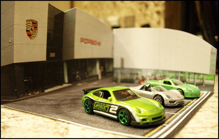 Porsche Dealership Dioramas for use with 1:87 or 1:64 Scale Die-cast cars.