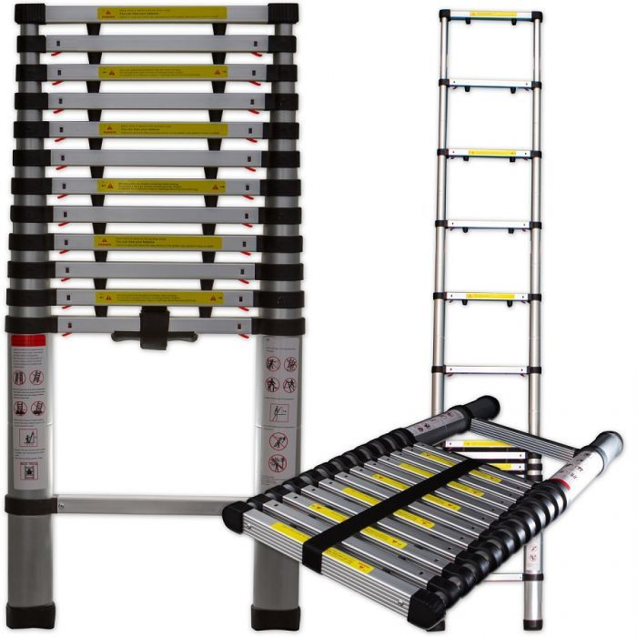 Oxgord 12 5 Ft Aluminum Telescoping Ladder V2 Ldal Ts02 12 Ladder Aluminum Extension Ladder Simple Storage
