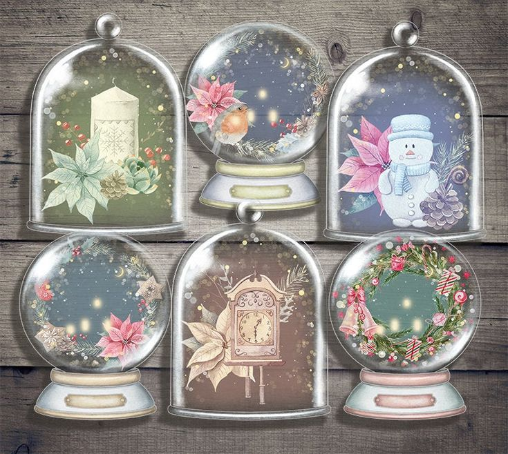 Christmas Snow Globes - Digital Collage Sheet Printables ...