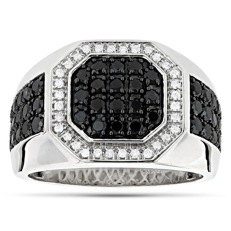 Mens Pinky Rings! 14K White and Black Diamond Ring for Men Pinky Ring 1.8ct