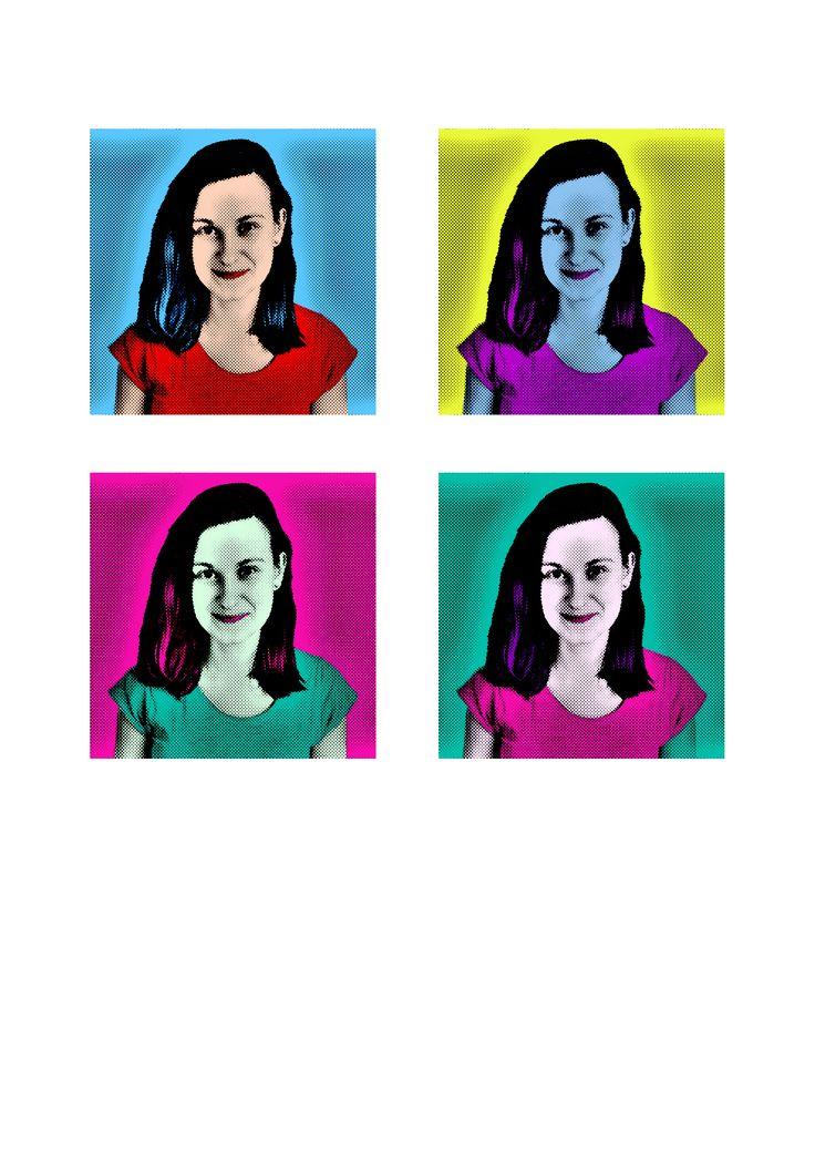 Pop Art Sada 4 obličejů ve stylu Marylin Monroe od Andyho Warhola.  Květen 2016