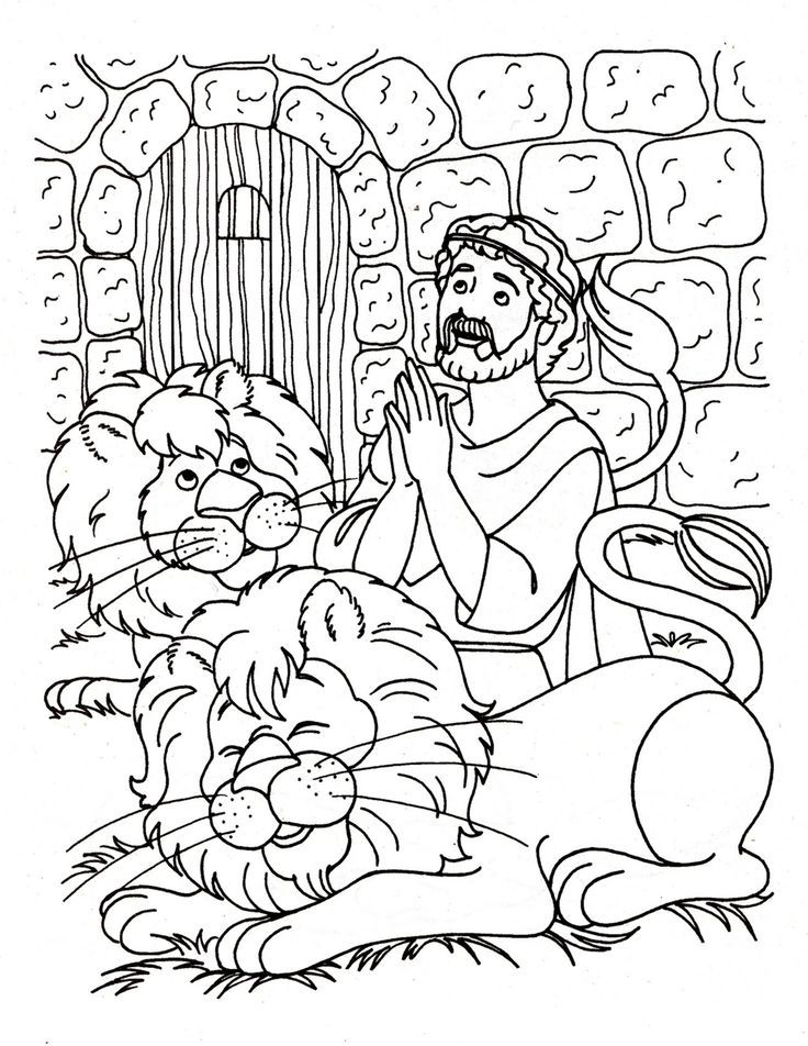 Daniel and the lions den coloring page | Bible - Coloring pages | Pin…