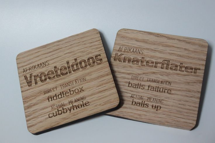 Made by www.lasercandy.co.za #LaserCandy#LaserCut#LaserEngraved#WoodenCoasters#Custom#AfrikaansWords