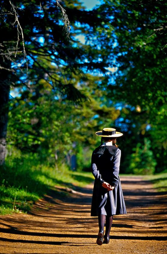 """Girl Portraying """"Anne of Green Gables"""", Green Gables House ~ Cavendish, Prince Edward Island, Canada #monogramsvacation"""