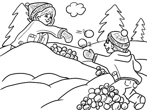 kids having a snowball fight free coloring page   Iarna ...