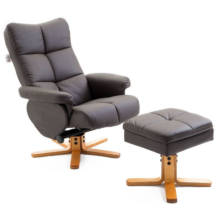 Leather Recliner Swivel Chair Brown Lounge Armchair Storage Footrest Stool Relax