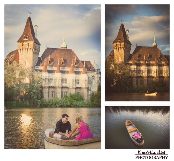 Budapest engagement session photography in a boat castle in the background