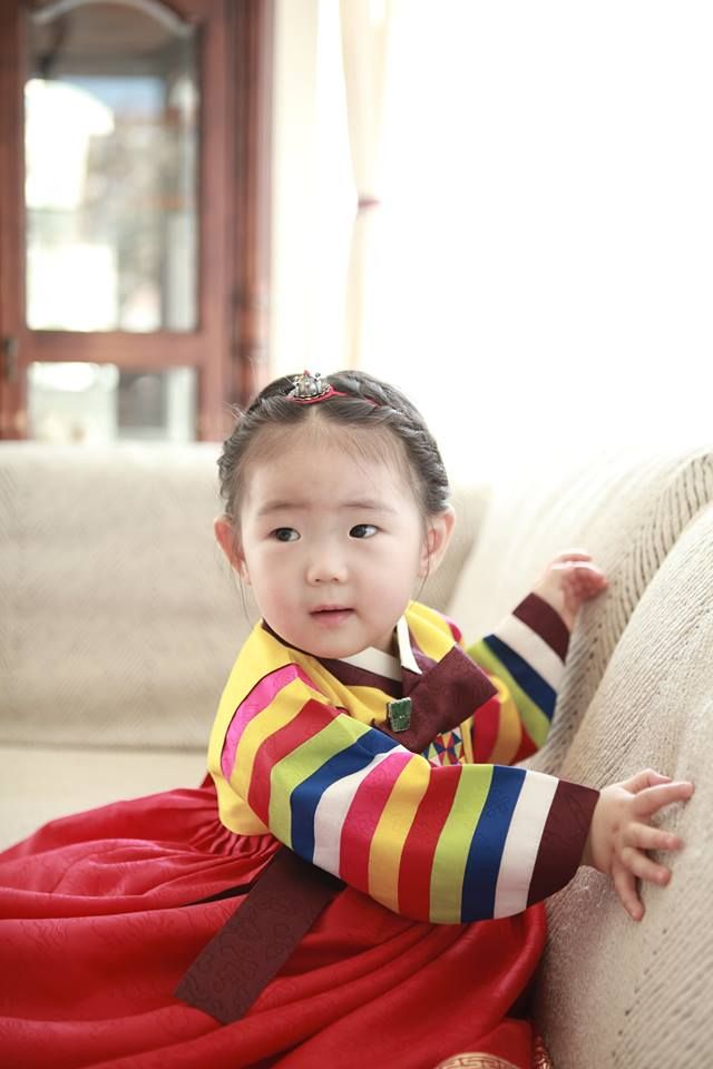 My work, Korean clothes Birthday Dress, 1 year old girl Material: Silk Style: Korean Traditional Style (1st Birthday, Dol in Korean) Accessories: Silver Headband & Pendant
