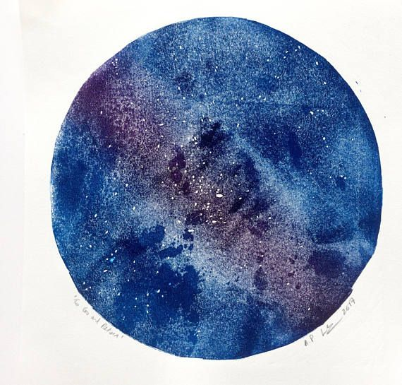 Universe star gazing lino print - outer space
