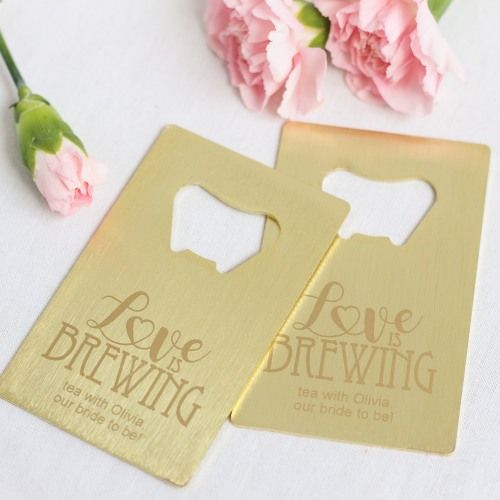 Invite wedding guests to pop bottles wherever they go by gifting them these sleek, personalized credit card bottle openers.