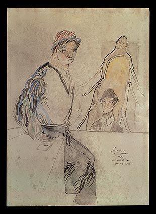 Jose Luis Cuevas – Autorretrato con Kafka y Samsa, 1982, Plumilla, pincel, tinta china, acuarela y crayón sobre papel | Museo José Luís Cuevas