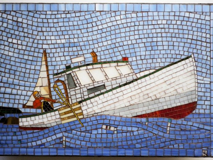Lobster Fishing Boat Nova Scotia Stained Glass Rolling Seas Fishing Wall Hanging by LachanceGlassMosaic on Etsy