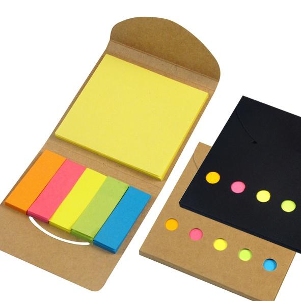 COD.EC029 Porta Post-it Ecológico de Cartón reciclado. Incluye 1 taco post-it de 25 hojas de 7,5 x 7,5 cm + 5 tacos de 25 banderitas post-it de 5 x 1,5 cm.
