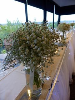 Love baby's breath.  Rustic wedding reception in the Tamar room at Tailrace Centre