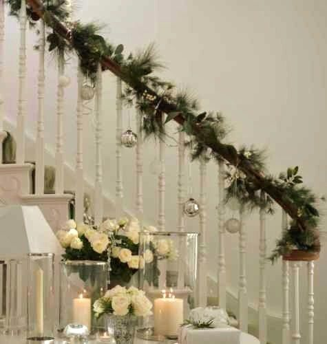 1000 images about christmas staircase decorations on for Well dressed home christmas decorations