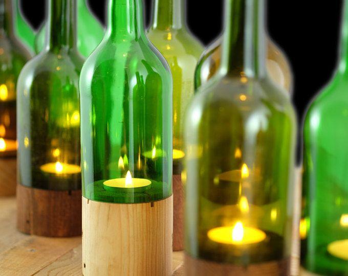 Gama de velas botella de vino en base