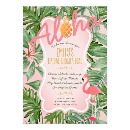 Tropical Pink Gold BRIDAL SHOWER Invite FLAMINGO - engagement gifts ideas diy special unique personalize
