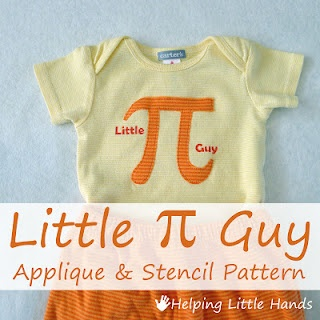 Little Pi Guy - Applique and Freezer Paper Nerdy Baby Onesie... includes the free pattern.Nerdy Baby, Guys Nerdy, Baby Sewing, Baby Onesies, Free Appliques, Stencils Pattern, Pattern Include, Pi Guys, Baby Shower