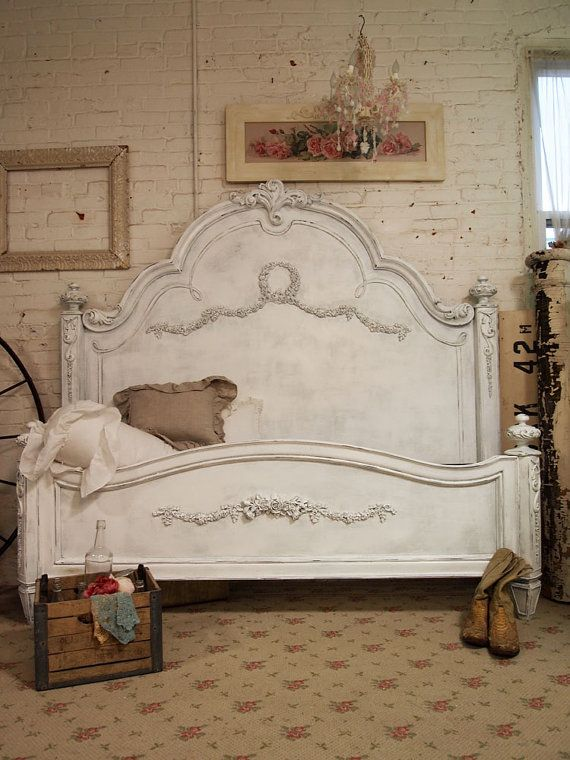 painted cottage chic shabby white romantic french night table nt204 - Antique Queen Bed Frame