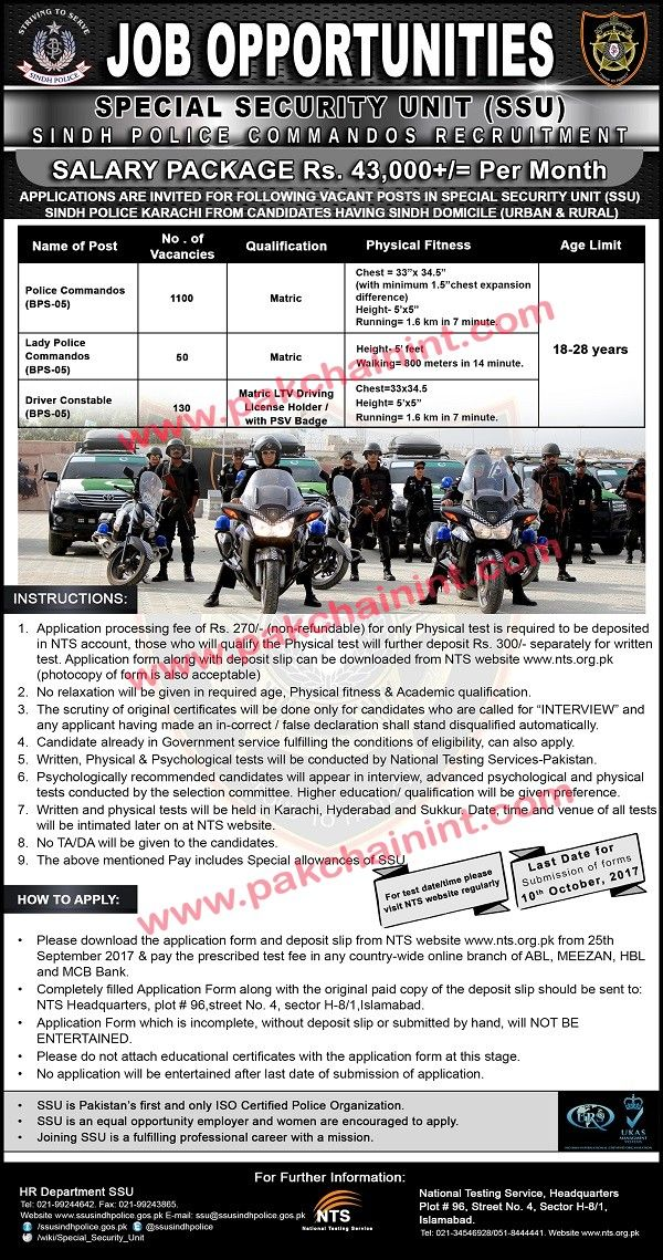 Police Department, Special Security Unit SSU Sind Salary Package 43,000/- Per Month Police Police Commanders  Vacancies 1100  Lady Police Commandos  Vacancies 60  Driver Constable  Vacancies 130  Download Application Form Click Here  Go to Pak Chain Home Page Click Here     Last Date For Application Submission:   #200 #ari #ariana #ariana and nicki song #ariana grande side to side #auto #bank #beach #computer #crew #dlc #funny #grand theft auto iv (video game) #gra