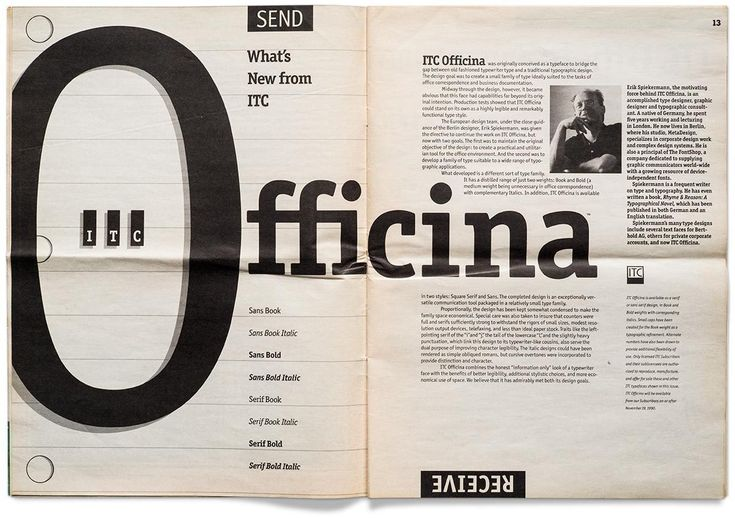 In 1989 the International Typeface Corporation released Erik Spiekermann's ITC…